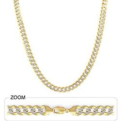 8.10mm 18 38.00gm 14k Two Tone Gold Menand039s Heavy Cuban White Pave Necklace Chain