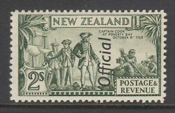 New Zealand Sc O71a Mlh. 1942 2sh Olive Green Captain Cook, Perf 12½, Scarce.
