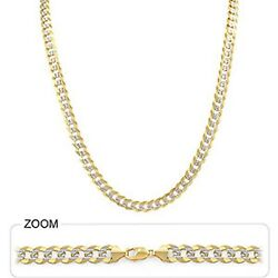 28 Gm 14k Two Tone Gold Men's Heavy Necklace Cuban White Pave Chain 6.50mm 18