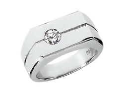3/4ct Round Cut Mens Wedding Band Ring Solid 10k White Gold I Si2 Bezel Setting