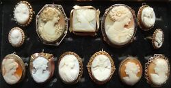 13 Piece Cameo Brooches, Pendants, Pins And Ring Collection