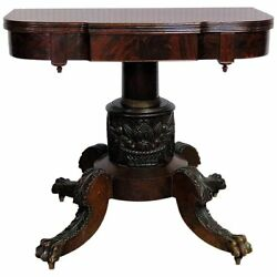 Robustly Carved 1840s Era Antique Sheraton Duncan Phyfe Style Card Games Table