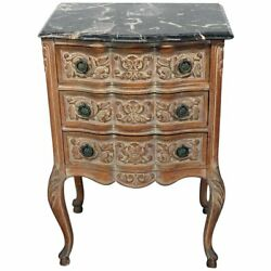 Stunning Antique French Marble Top Painted Louis Xvi Style Night Stand Table