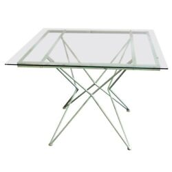Great 1950s Turquoise Painted Iron Atomic Age Era Center Dining Patio Table