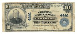 Carthage, Missouri Mo 10 National Bank Note, 1902 Lg Size, Blue Seal, Ch 4441