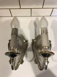 Pair Of Early 1900andrsquos Plated Brass Sconces 20c
