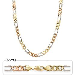 8.50mm 20 55.00gm 14k Tri Color Solid Gold Menand039s Heavy Figaro Chain Necklace