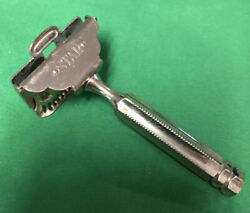 Vintage Star Silver Tone Single Edge Safety Razor With Fancy Handle