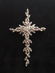 Samuel Benham 18K White Gold Clear Champagne Diamonds Huge Cross Pendant Brooch