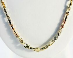 28 Gm 14k Solid Tri Color Gold Men's Figarope Milano Chain Necklace 18 4mm