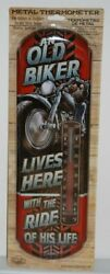 41202 An Old Biker Lives Here Tin Thermometer By Countryside Products