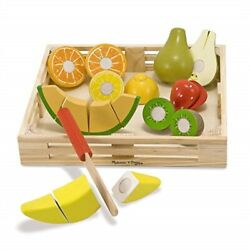 Melissa & Doug Cutting Fruit Set Wooden Play Food Attractive Wooden Crate In