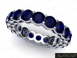 6.1ct Round Cut Sapphire Open Gallery Shared Eternity Band Ring 950 Platinum Aaa