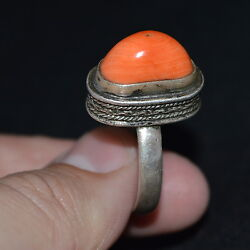 Faberge Design Imperial Russian 19th Antique Big Coral Ring Silver 84 Salmon