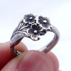 Sterling Silver Spoon Ring Reed And Barton Harlequin Forget Me Not Spoon Size 5