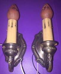 Wired Pair Sconces Vintage Electric Candles Uniform Patina Great 2a