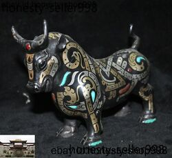 China Fengshui Bronze 24k Gold Gilt Silver Turquoise Oxen Cattle Ox Bull Statue