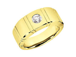 0.75ct Round Cut Solitaire Mens Wedding Band Ring 18k Yellow Gold F Vs2 Bezel