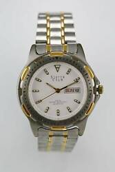 Sierra Club Watch Mens Day Date Stainless Silver Gold 30m Battery White Quartz