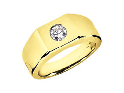 0.75ct Round Cut Solitaire Mens Wedding Band Ring 18k Yellow Gold G Si1 Bezel