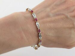 14k Yellow And White Gold Diamond And Ruby Tennis Bracelet 7 5.00 Carats