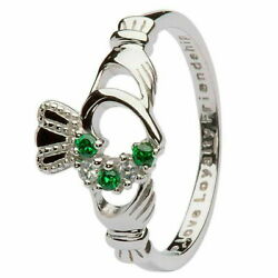 Women Claddagh Green & Silver Cubic Zirconia Ring Heart Crown Set Irish Gift