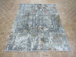8 X 10 Hand Knotted Wool And Silk Multi Colored Fine Modern Oriental Rug G6901