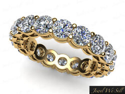 3.4ct Round Diamond Open Gallery Shared Eternity Band Ring 18k Yellow Gold H Si2