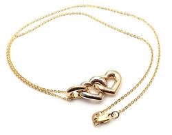 Authentic 18k Yellow And White Gold Double Heart Pendant Chain Necklace