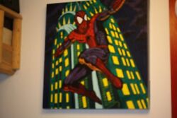 Spiderman Midnight Sky Oil Signed Kaufmann And Stan Lee