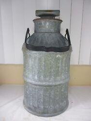 Vintage Gas Service Station Oil/gas Can 5 Gallon W/ Handle Lid Galvanized Steel