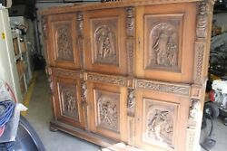 Solid Wood Cabinet, Religious Carvings, Antique, Old, Large, Very Heavy