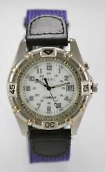Fossil Watch Men Light White Date 24h Stainless Silver 30m Leather Purple Quartz