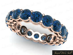 6.75ct Round Cut Blue Diamond Gallery Shared Eternity Band Ring 14k Rose Gold I1