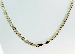 5.90mm 24 24.40gm 14k Solid Gold Two Tone Men's Cuban White Pave Chain Necklace