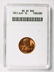 1951-d/d Lincoln Wheat 1andcent Cent Anacs Ms 65 Red Old Holder