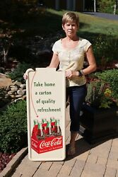 Vintage 50and039s Coca Cola Soda 6 Pack Arrow Soda Drink Pilaster Sign Minty Nosandnbsp