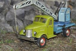 Antique Ultra Rare Toy 1950s Vtg Russian Soviet Car Gaz Truck Crane Metal Tin