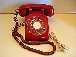 Vintage 70 Bell System Western Electric Rorary Desk Phone-500dm-red-works