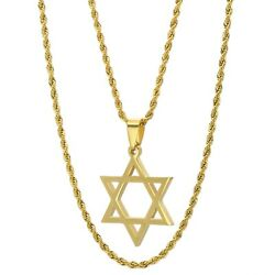 Stainless Steel Star Of David Hip Hop Rope Chain Necklace 2.5mm 20 24 Inches