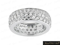 Natural 1.75ct Diamond 3row Pave Eternity Band Ring 18k White Gold H Si2 Ladies
