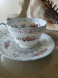 Shelley Crochet Blue Henley Cup And Saucer, Engalnd C. 1945