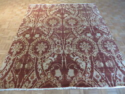 8 X 10 Hand Knotted Brown Wool And Silk Modern Oriental Rug G3558