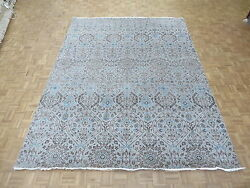 9 X 12'2 Hand Knotted Silver Beige Ikat Peshawar Oriental Rug Wool And Silk G5018