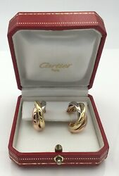 Ladies Designer 18k Yellow White And Pink Gold Trinity Earrings  14 Grams
