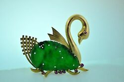 14k Yellow Gold Swan W/ Green Jadeite Jade And Rubies Pin Or Brooch 15g Excellent