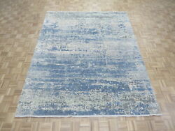 8 X 10 Hand Knotted Modern Abstract Light Blue Oriental Rug With Silk G6900
