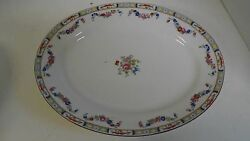J And G Meakin Sol Richmond England Oval Serving Platter Plate Flower Floral Swag