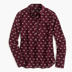 NWT J. Crew JCREW Burgundy Popover Shirt in Terrier Dog Print! Sz 6 P SOLD OUT