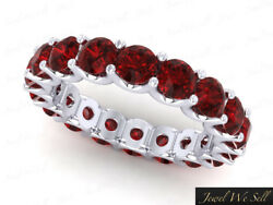 Real 4.80ct Round Ruby Shared U-prong Eternity Wedding Ring 14k White Gold Aaa